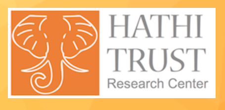 on the left, the HathiTrust logo: an outline of white african elephant head over an orange background; on the right, the text 'Hathi Trust Research Center'.