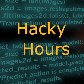 Text, The Carpentries Hacky Hours Drop-in Sessions; overlaying random code.