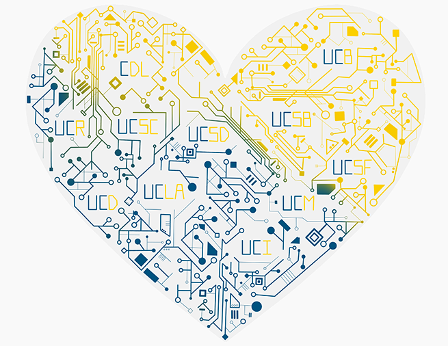 love data week logo image: internal circuitry in the shape of a heart with abbreviations of the UC campuses and CDL interspersed